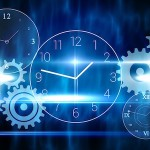 Blue technology design with clock